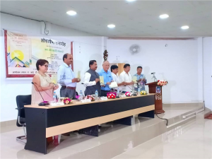 A poetry collection 'Jab Adivasi Gata Hai' by Jamuna Bini released. A poetry collection titled 'Jab Adivasi Gata Hai' penned by Assistant Professor of Hindi Department RGU, was released by Vice Chancellor Prof. Saket Kushwaha at AITS Seminar Hall, RGU, on 12th Ooctober 2018.