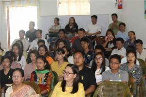 "Audience at the World Mental Health Day celebrated by Department of Psychology ""The technical session featured lectures by Psychology Assistant Professor Dr Dharmeshwari Lourembam (on stress management) and Midpu-based mental health centre's clinical psychologist Yeni Nabam (on mental health issues faced by the youths, and creating awareness and building resilience)""."