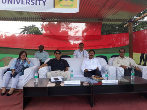 "Prof. Saket Kushwaha, Vice Chancellor and Tapi Gao, Director of Elementary Education ""The final match was witnessed among others by RGU Vice Chancellor Prof. Saket Kushwaha and Tapi Gao, Director of Elementary Education"""