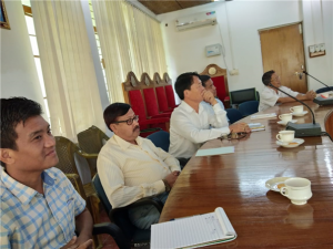 Prof. Saket Kushwaha, Vice Chancellor interacting with RGU Officers