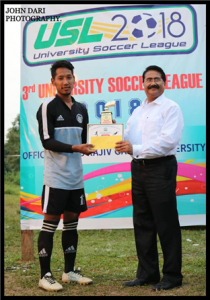 "Dept of Physical Education lifted the 3rd University Soccer League (USL) trophy ""Dept of Physical Education lifted the 3rd University Soccer League (USL) trophy"""