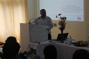 Prof. Utpal Bhattacharjee, welcoming the dignitaries, resource persons, delegares and students