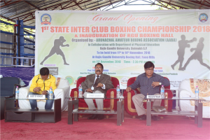 "Inauguration of RGU Boxing Arena ""Hon'ble VC in his address congratulated and conveyed his best wishes to the boxing fraternity for the tournament. He reiterated the role of university in community engagement through the academic and sports for personality development while welcoming the young boxers to the university."""