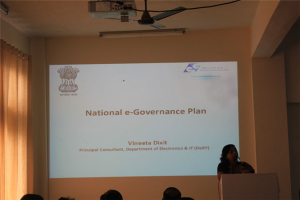 Smt. Vineeta Dixit, Principal Consultant, DeiTy, explaining about the NeGP of Govt. of India